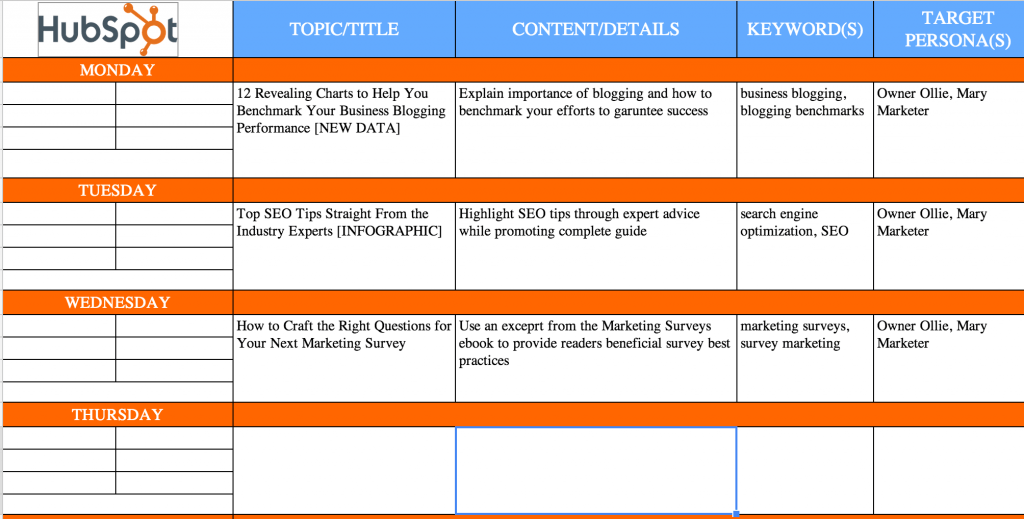content marketing spreadsheet