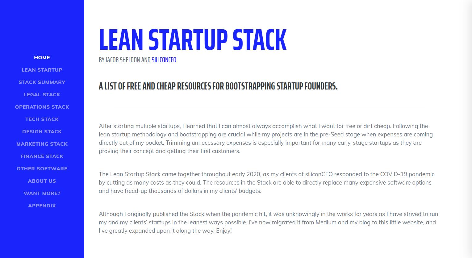 Lean Startup Stack