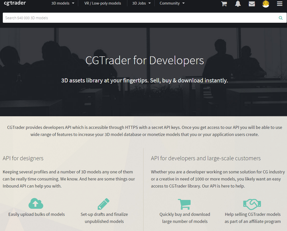 CGTrader API for developers